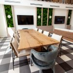 10' solid white oak table with brass inlay